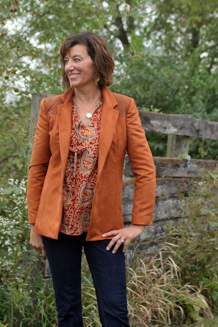 Style Maker Fabric's Chestnut Faux Suede used to create Simplicity 1066 with contrast yokes