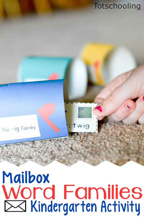FREE mailbox reading game for kindergarten kids learning about word families and cvc words. Great for pretend play as well as post office or community helper theme.