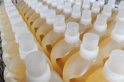 Boiled, liquid Soapnut detergent stored in bottles