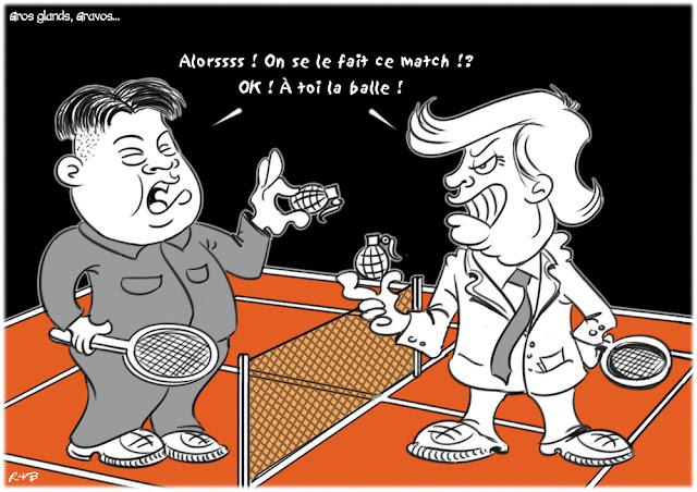 Le dessin du jour (humour en images) - Page 16 Kim-trump-garros
