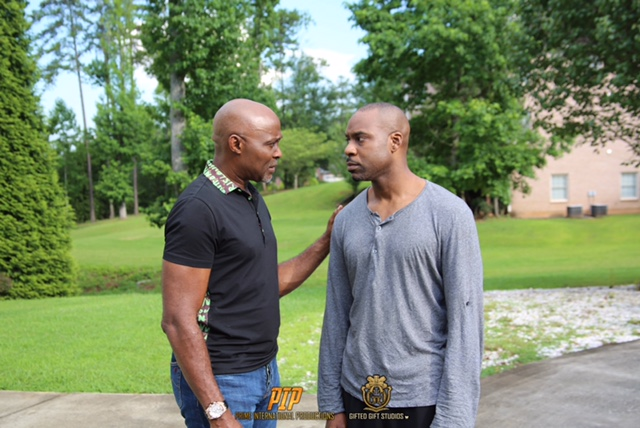 Richard Mofe-Damijo and Raz Adoti on the set of Boxing Day