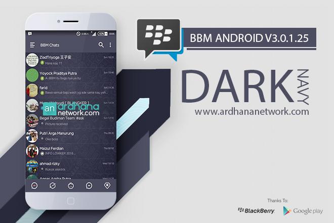 BBM Dark Navy V3 - BBM MOD Android V3.0.1.25