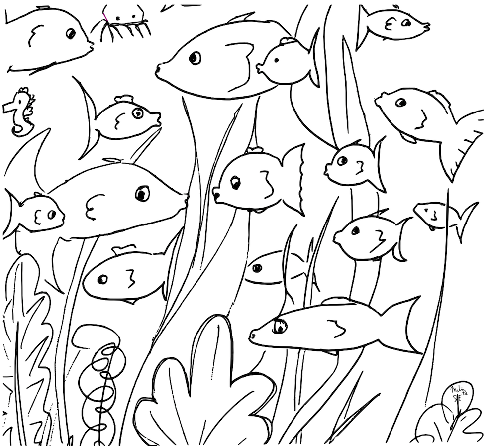 school of fish coloring pages - free printable fish doodles coloring page kostenloses