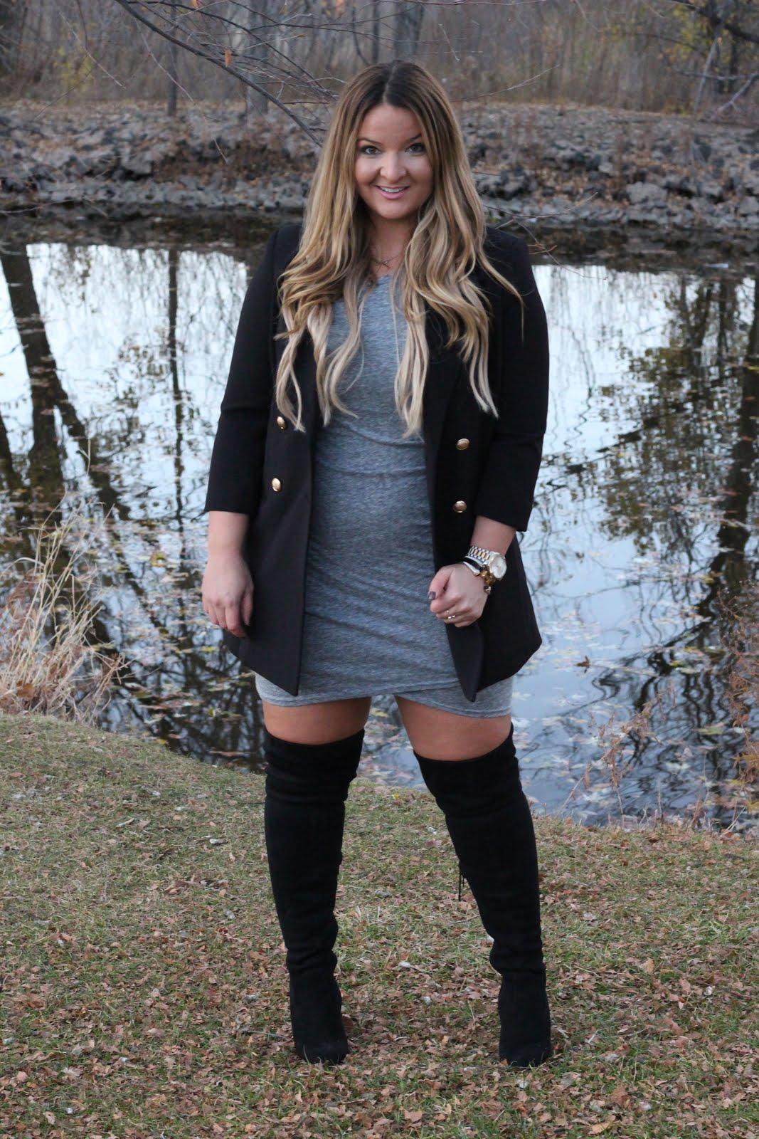 Blazer with Black Thigh High Boots by Denver fashion blogger Delayna Denaye