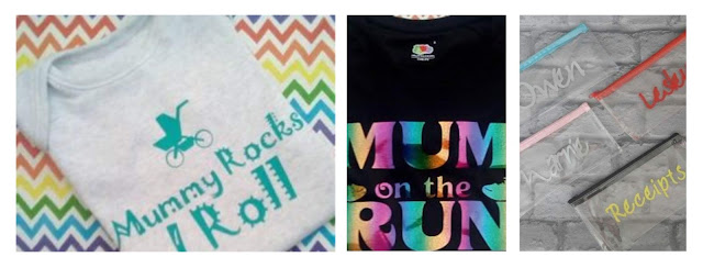 Collage featuring Mummy Rocks baby gro, Mum on the Run T shirt and personalised pencil cases