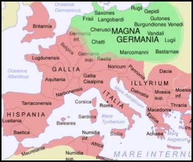 Mapa, Germania Magna, Arminio, Varo, Teutoburgo, legiones, Roma, romanos, Germania, germanos, queruscos, Augusto, Tusnelda