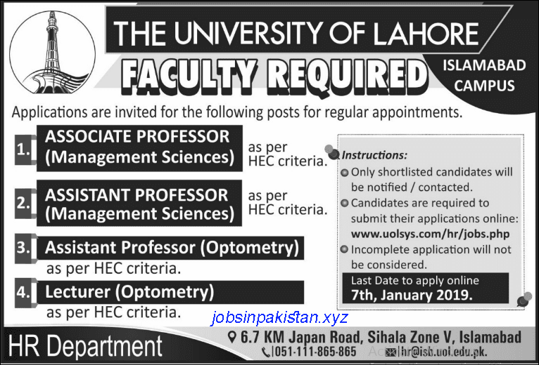 Advertisement for the University of Lahore Jobs