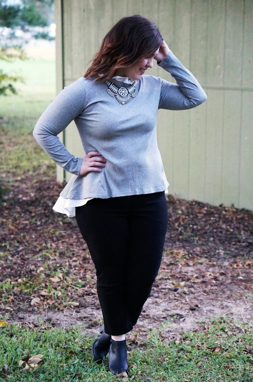 Rebecca Lately Dress Lily Peplum Top Margaret M Pants Stitch Fix Target DV Jameson Booties Happiness Boutique Necklace