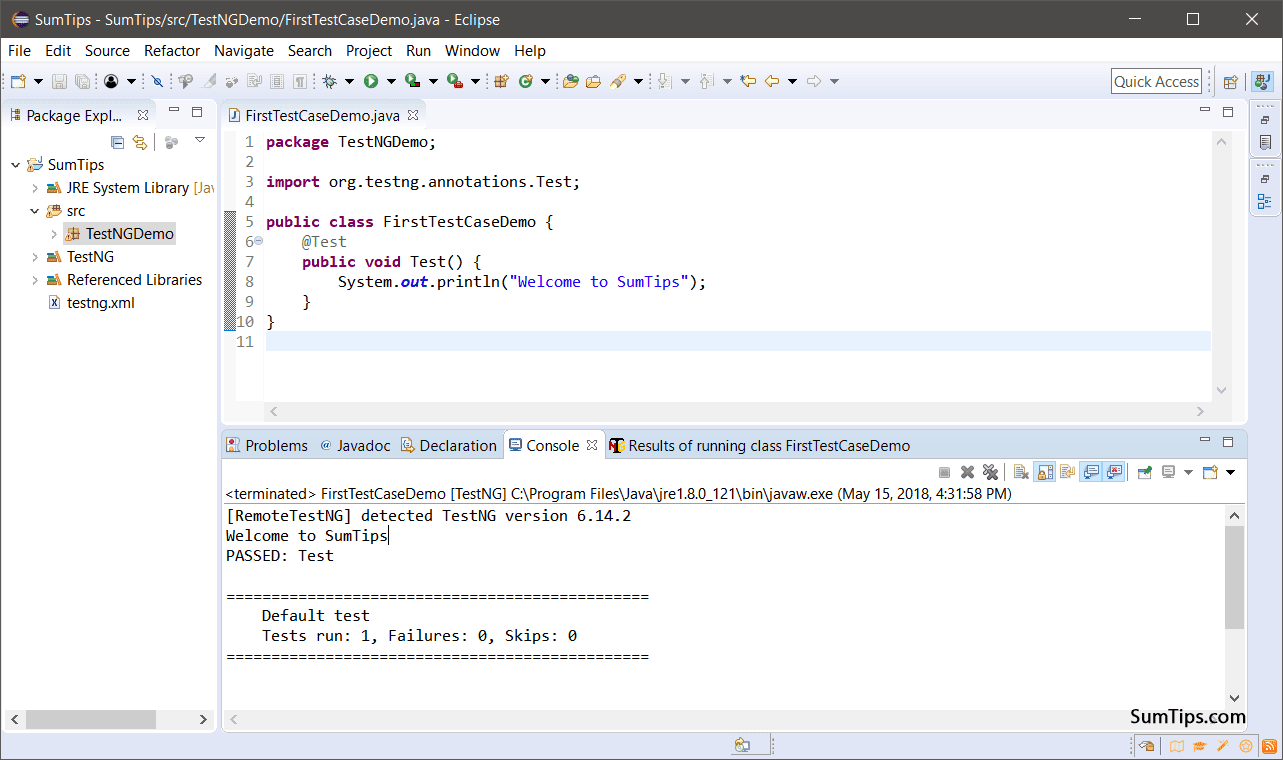 First Test Case with TestNG