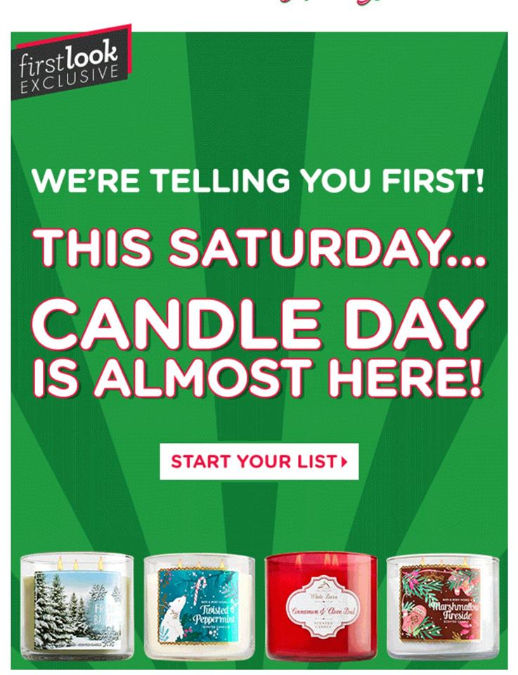 Bath Amp Body Works Candle Day Scheduled For December 3 2016