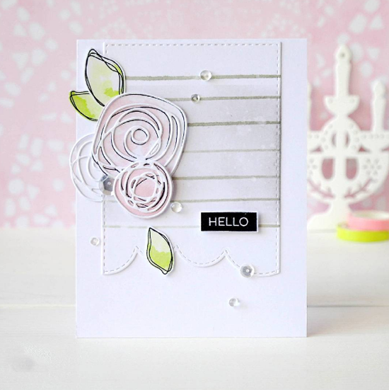 Label Maker Sentiments stamp set, Lisa Johnson Designs Circle Scribble Flowers stamp set and Die-namics and Scribbles Die-namics - Olga Podobaeva #mftstamps