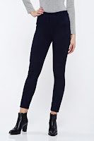 Pantaloni albastri-inchis casual conici din velur cu talie inalta •