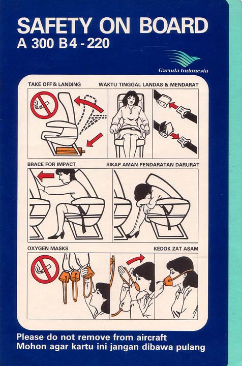 kartu keselamatan (safety card) Garuda