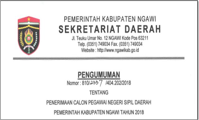 Rincian Formasi CPNS Kabupaten Ngawi Tahun Anggaran 2018