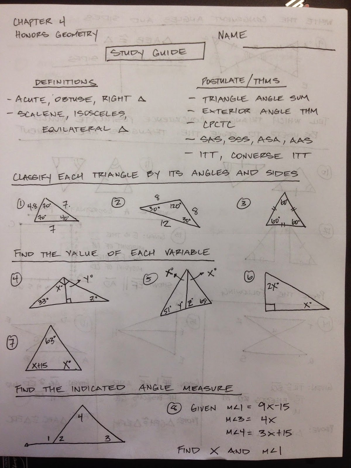 Proofs Involving Congruent Triangles Worksheet Answer Key
