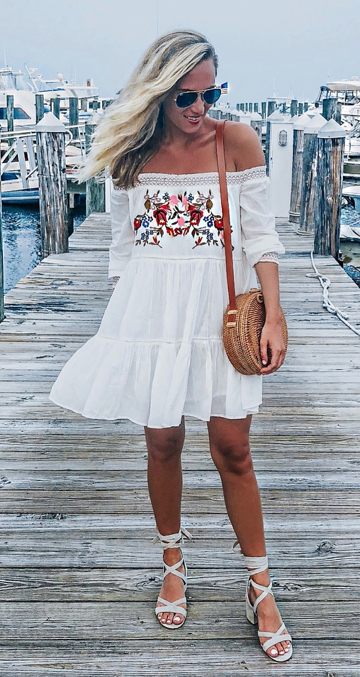 incredible summer outfit_white embroidered dress + crossbody round bag + heels