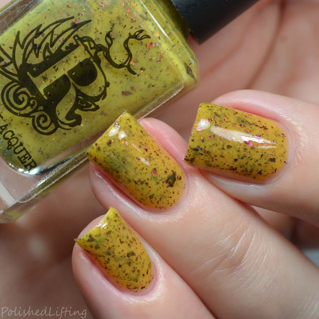 yellow nail polish with flakies