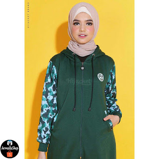 Jaket Hijab Army Sweet Green PREMIUM FLEECE