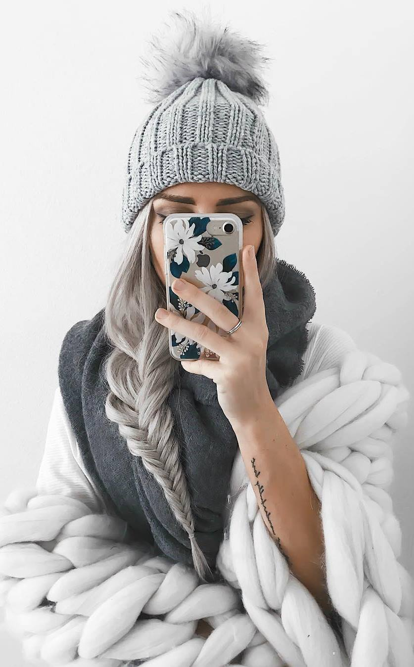 how to wear a knit hat : cashmere scarf + sweater