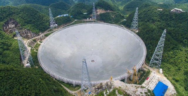 The aerial photo taken on July 3, 2016 shows the Five-hundred-meter Aperture Spherical Telescope (FAST) in Pingtang County, southwest China's Guizhou Province. Installation was completed on the world's largest radio telescope on Sunday morning as the last of 4,450 panels was fitted into the center of the big dish. Scientists will then begin debugging and trial observation of the FAST. (Xinhua/Liu Xu)