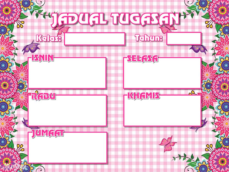 Jadual Waktu Kelas Carta Organisasi Tugasan Pink Koleksi Grafik Untuk Guru