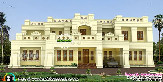 Flat roof colonial style 5 BHK home design