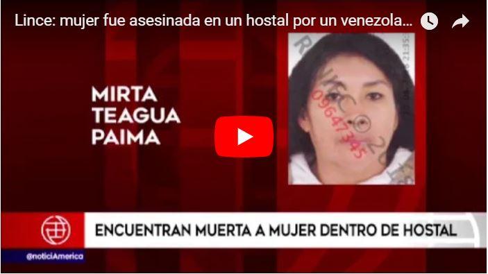 Un refugiado venezolano estranguló a su esposa en un hostal del Perú