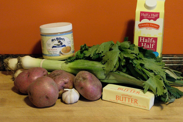 The ingredients needed to make the soup.