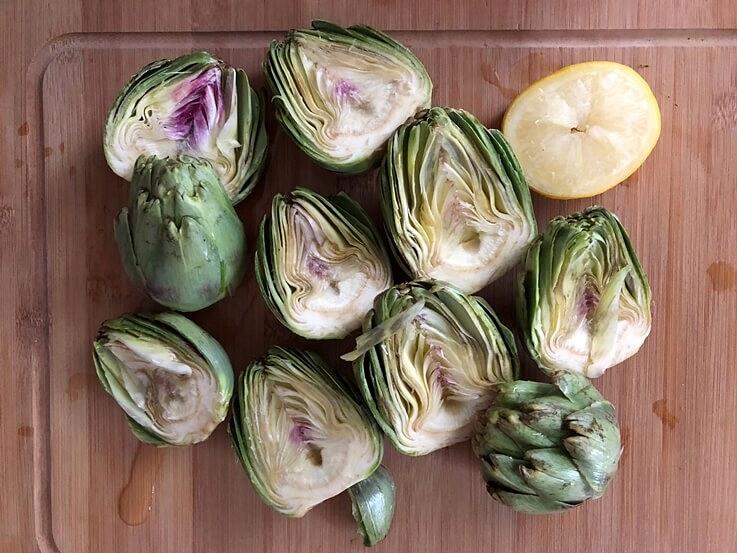Alcachofas al horno con alioli