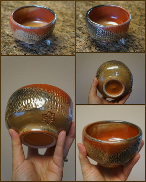 Tea bowl in Carbon Trap Shino, by Lily L.