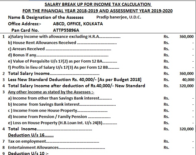 Income Tax Calculator for F.Y.2018-19 With Allowances Exempt From Tax For Salaried Person [Most Useful] for F.Y. 2018-19