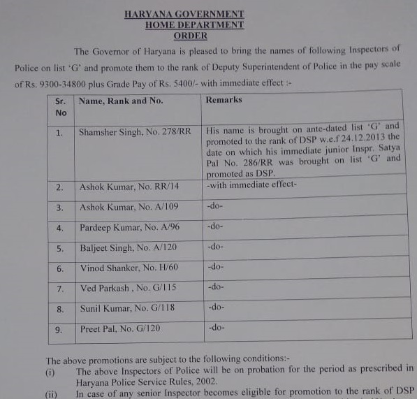 9-inspector-got-promoted-as-dsp-in-haryana-police-news-in-hindi
