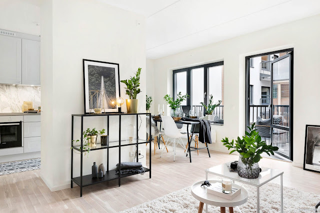 Amenajare fără uși într-un apartament de 54 m²
