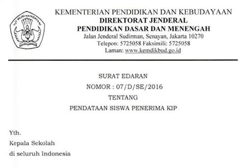 Download Surat Edaran tentang Pendataan Siswa Penerima Kartu Indonesia Pintar (KIP) 2016