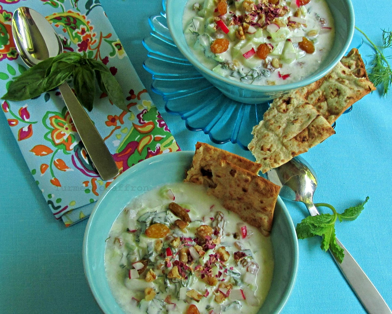 Turmeric & Saffron: Abdoogh Khiar - Persian Cold Yogurt Soup with ...