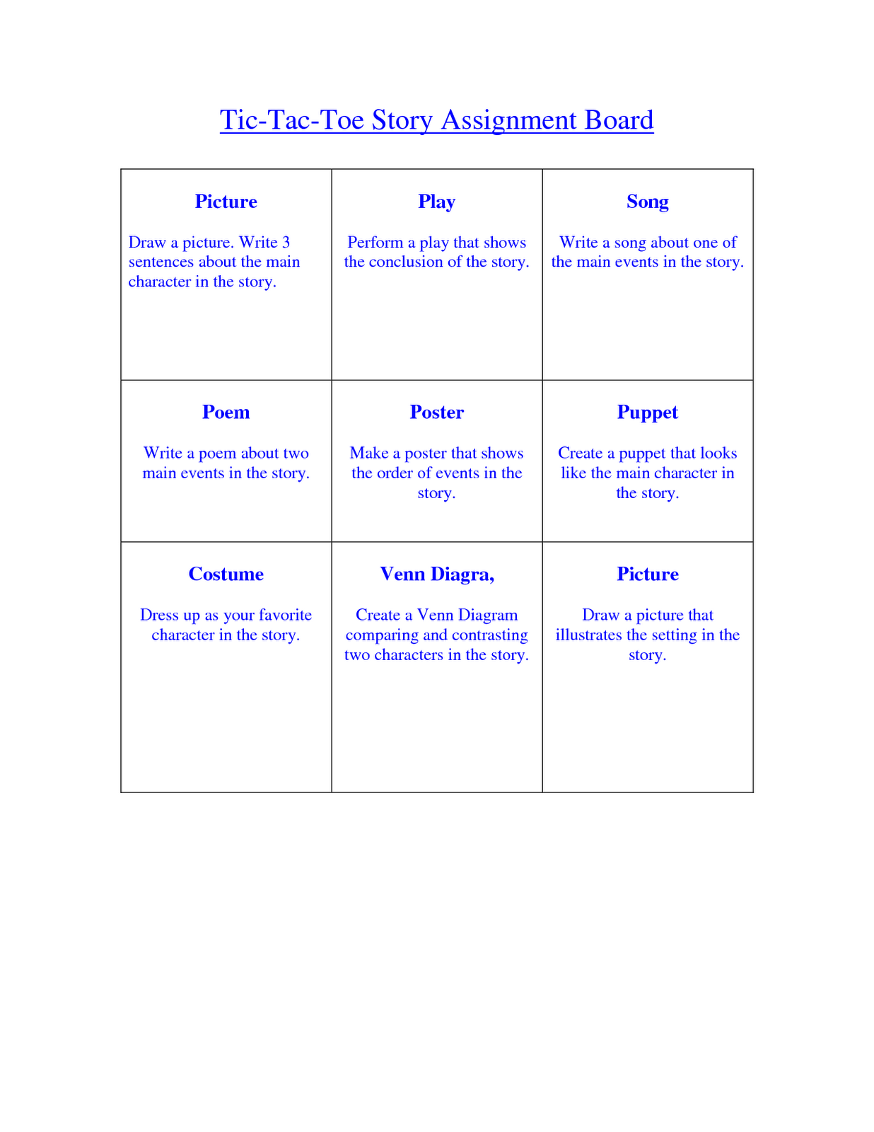 tic tac toe homework template - math techniques and strategies november 2011