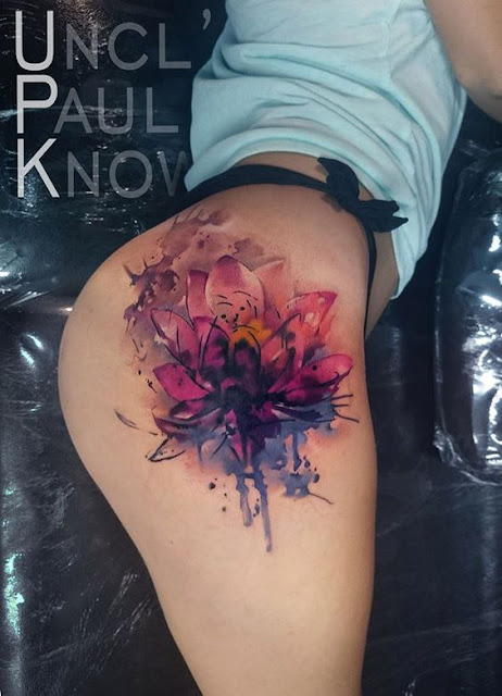 Watercolor Hip Lotus Flower Tattoo For Girls