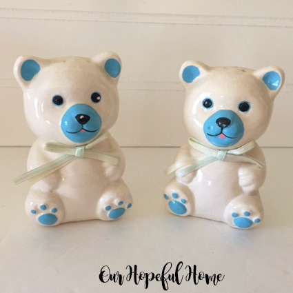 Vintage Loomco 1990's porcelain teddy bear salt and pepper shakers retro
