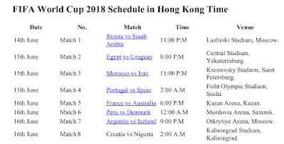 FIFA World Cup 2018 Schedule Hong Kong Time with PDF