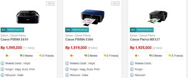Harga Printer Canon Pixma Series Terbaru Juli 2017