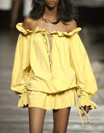 Off-shoulder-yellow-Dress