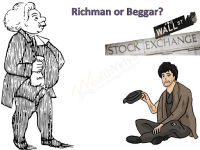 rich man, beggar and the Wall Street sign