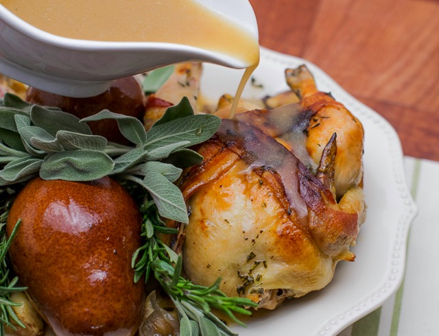 Cornish Hens with Pears, Bacon and Chestnuts