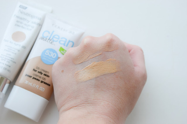 a picture of Neutrogena Healthy Skin Anti-Aging Skin Perfector in Fair to Light 20 & Covergirl Clean Matte BB Cream in 530 (swatch)