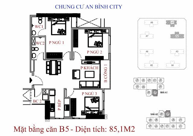 căn hộ B5 diện tích 85,1m2