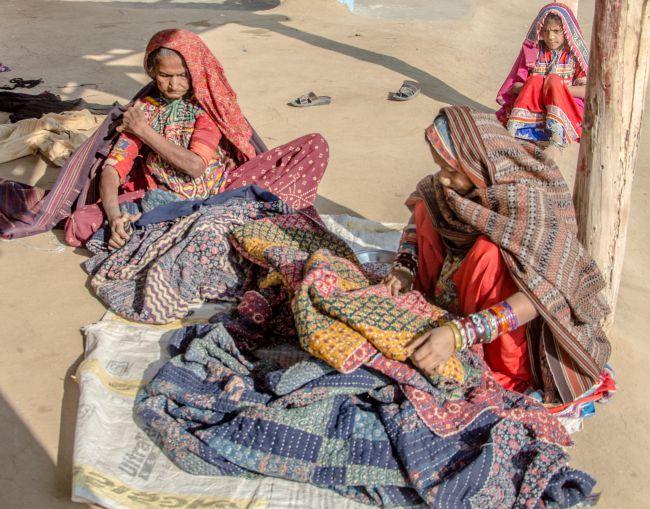 Womenfolk creating handicrafts