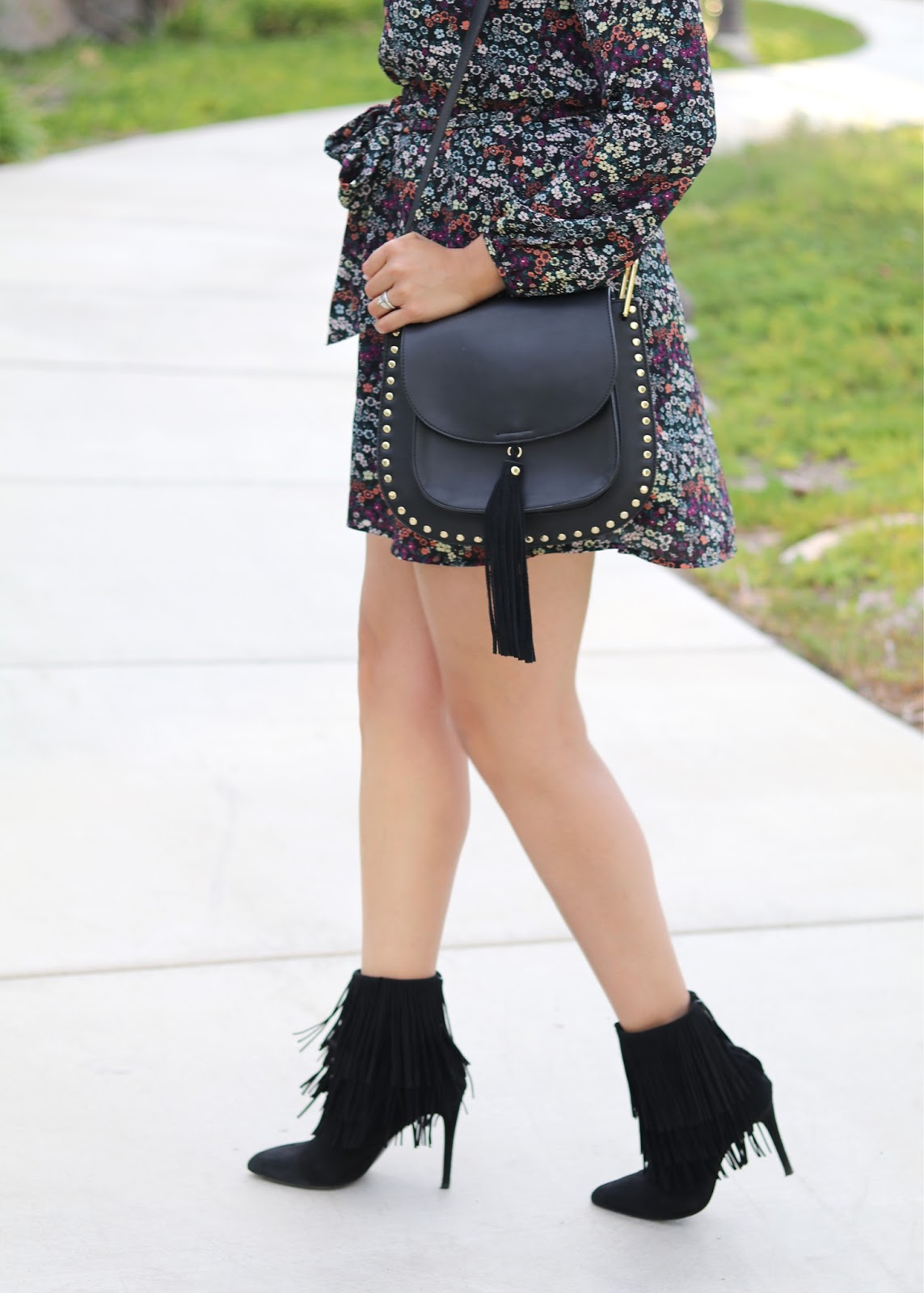 galian studded and fringe handbag, black studded crossbody bag, black fringe booties