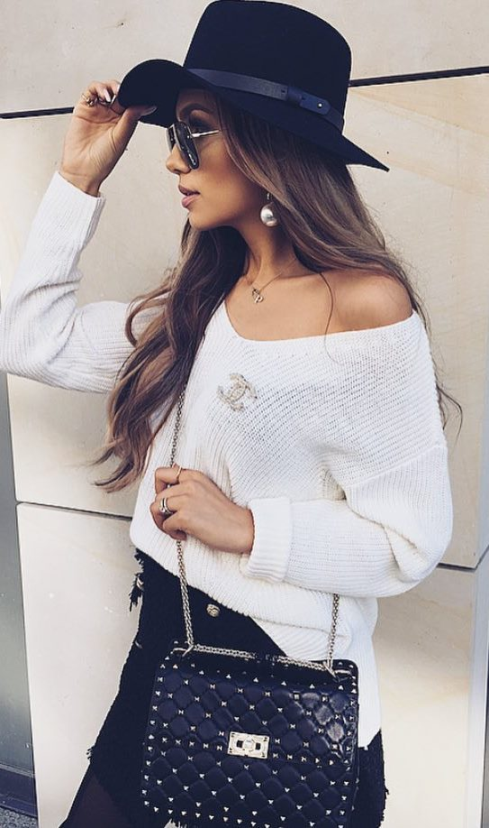 how to style a black hat : white sweater + bag + black skirt