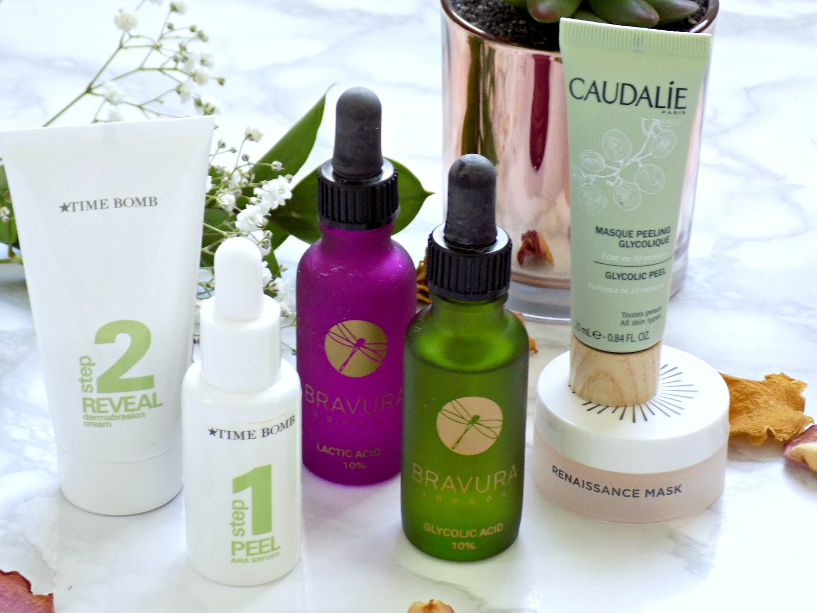 Chemical exfoliators, Bravura Acid Peels, Time Bomb, Caudalie, Oskia