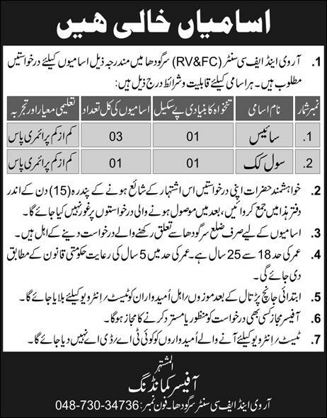 Jobs In Pak Army RV&FC Center Sargodha